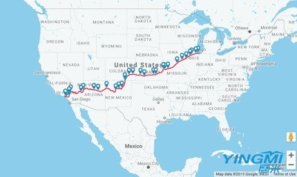The route of Southwest Chief